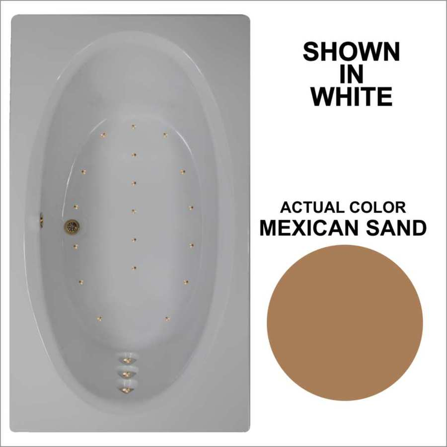Watertech Whirlpool Baths 71.625-in L x 41.75-in W x 21.75-in H Mexican Sand Acrylic Oval In Rectangle Drop-in Air Bath
