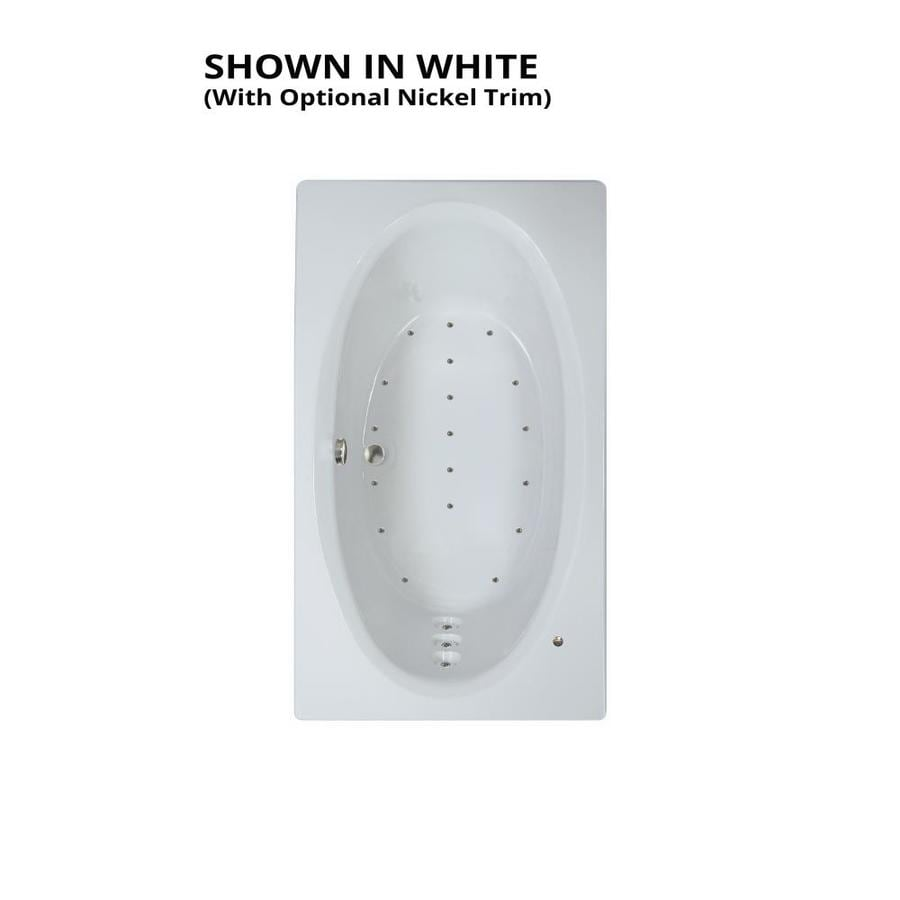 Watertech Whirlpool Baths 71.625-in White Acrylic Drop-In Air Bath with Reversible Drain