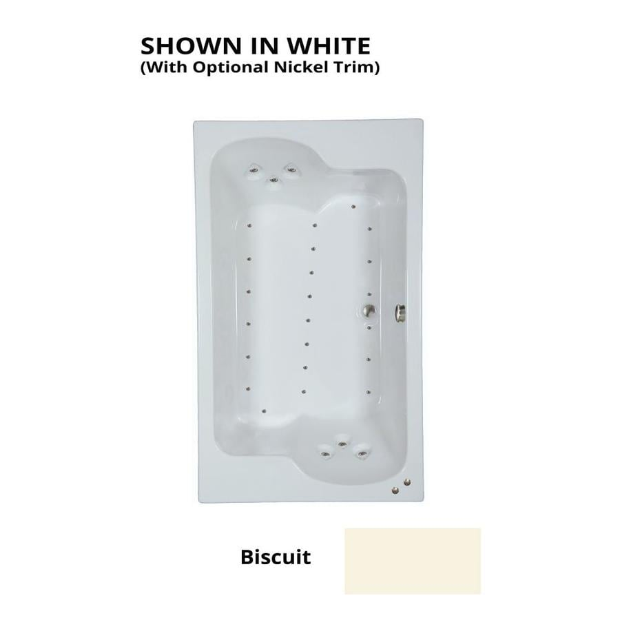 Watertech Whirlpool Baths 71.75-in L x 42.625-in W x 24.5-in H Biscuit Acrylic 2-Person Rectangular Drop-in Air Bath