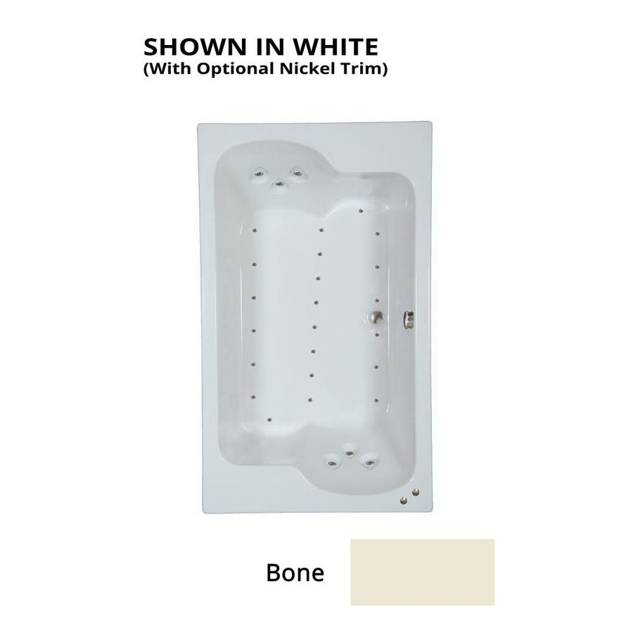 Watertech Whirlpool Baths 71.75-in Bone Acrylic Drop-In Air Bath with Reversible Drain