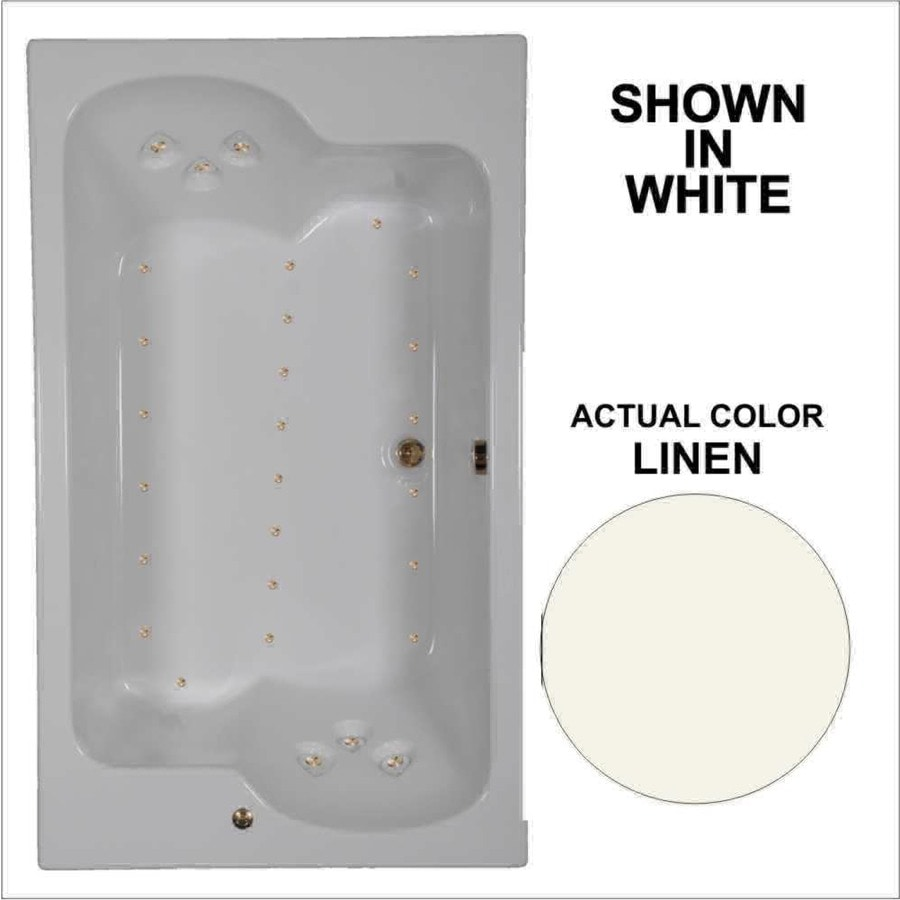 Watertech Whirlpool Baths 71.75-in L x 42.625-in W x 24.5-in H Linen Acrylic 2-Person Rectangular Drop-in Air Bath