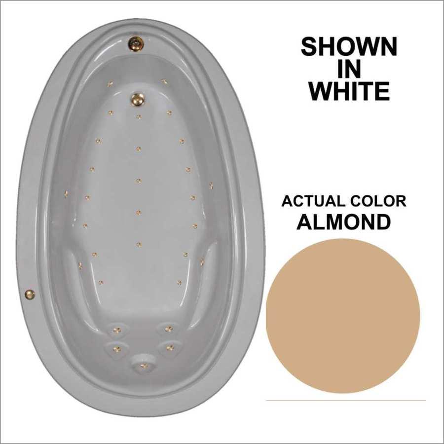 Watertech Whirlpool Baths 70.875-in L x 44.25-in W x 22.25-in H Almond Acrylic Oval Drop-in Air Bath