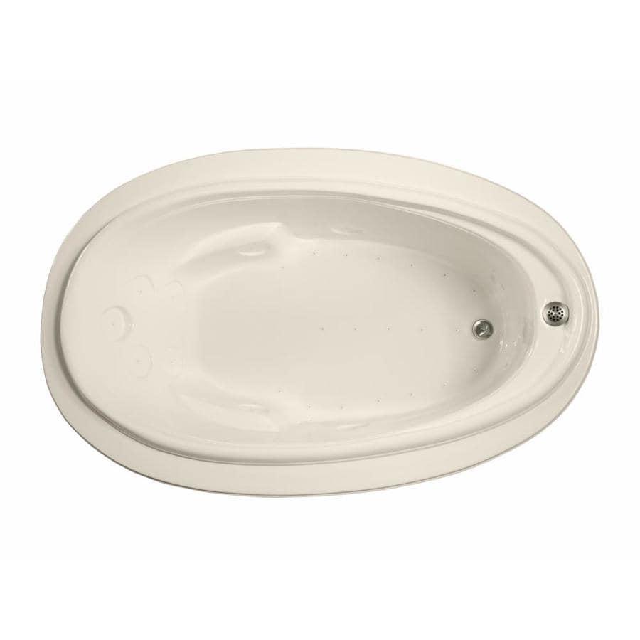 Watertech Whirlpool Baths 70.875-in L x 44.25-in W x 22.25-in H Bone Acrylic Oval Drop-in Air Bath