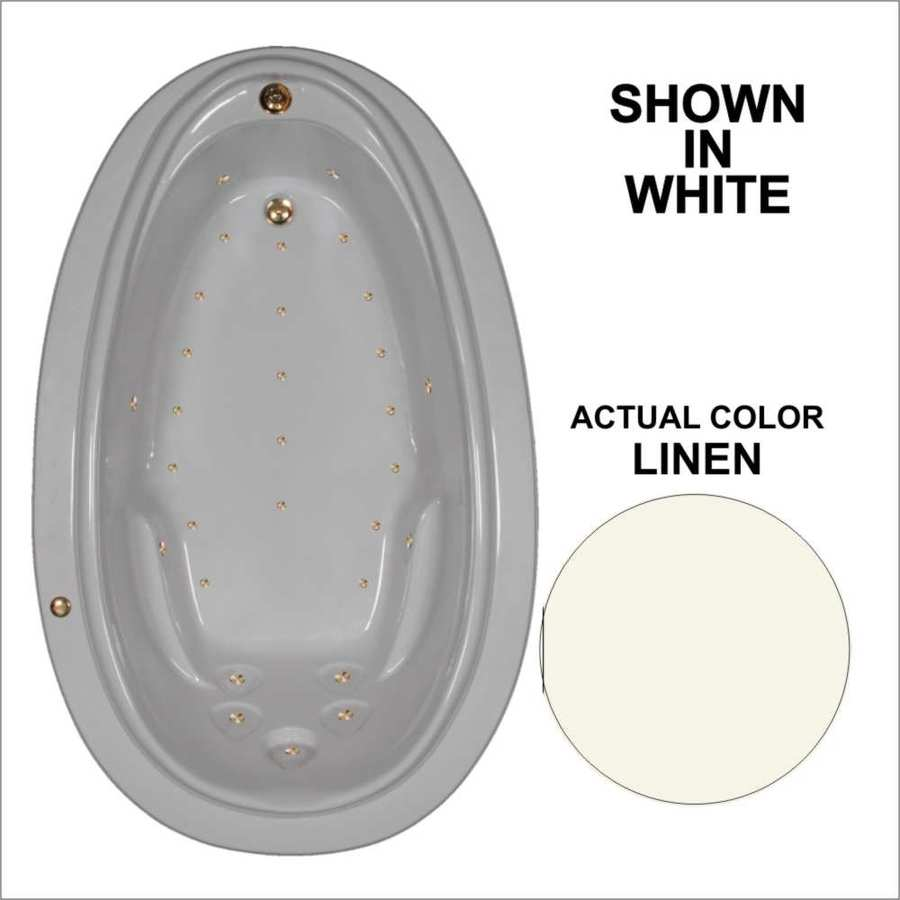 Watertech Whirlpool Baths 70.875-in L x 44.25-in W x 22.25-in H Linen Acrylic Oval Drop-in Air Bath