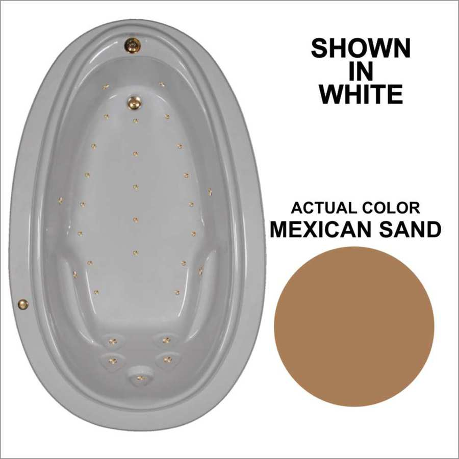 Watertech Whirlpool Baths 70.875-in Mexican Sand Acrylic Drop-In Air Bath with Reversible Drain
