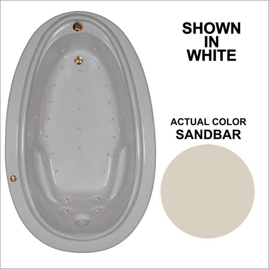 Watertech Whirlpool Baths 70.875-in L x 44.25-in W x 22.25-in H Sandbar Acrylic Oval Drop-in Air Bath