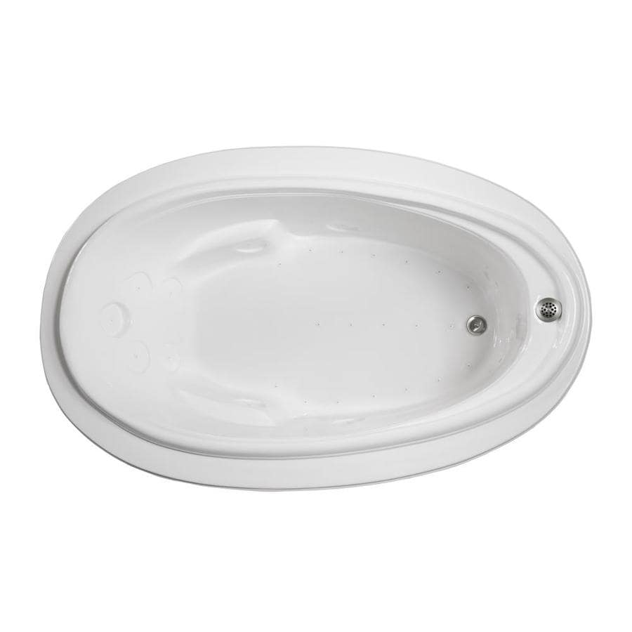Watertech Whirlpool Baths 70.875-in White Acrylic Drop-In Air Bath with Reversible Drain