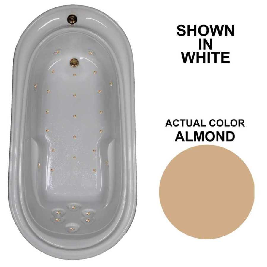 Watertech Whirlpool Baths 72-in L x 36.75-in W x 22.75-in H Almond Acrylic Oval Drop-in Air Bath