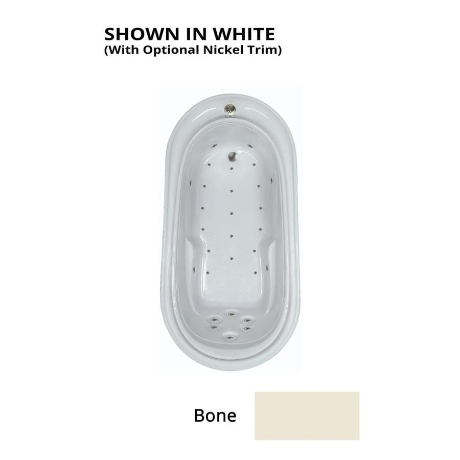 Watertech Whirlpool Baths 72-in Bone Acrylic Drop-In Air Bath with Reversible Drain