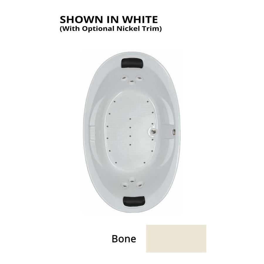 Watertech Whirlpool Baths 72.75-in L x 44.875-in W x 23-in H Bone Acrylic 2-Person Oval Drop-in Air Bath