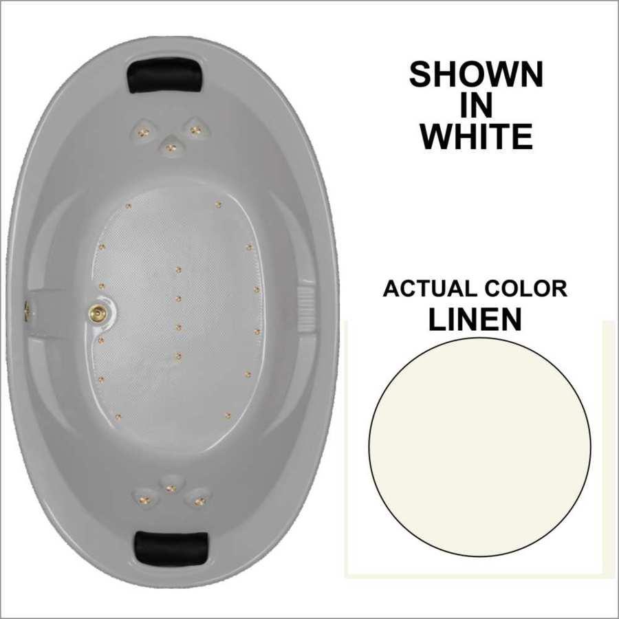 Watertech Whirlpool Baths 72.75-in L x 44.875-in W x 23-in H Linen Acrylic 2-Person Oval Drop-in Air Bath