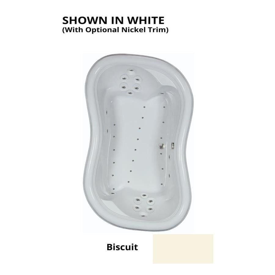 Watertech Whirlpool Baths 78-in Biscuit Acrylic Drop-In Air Bath with Reversible Drain