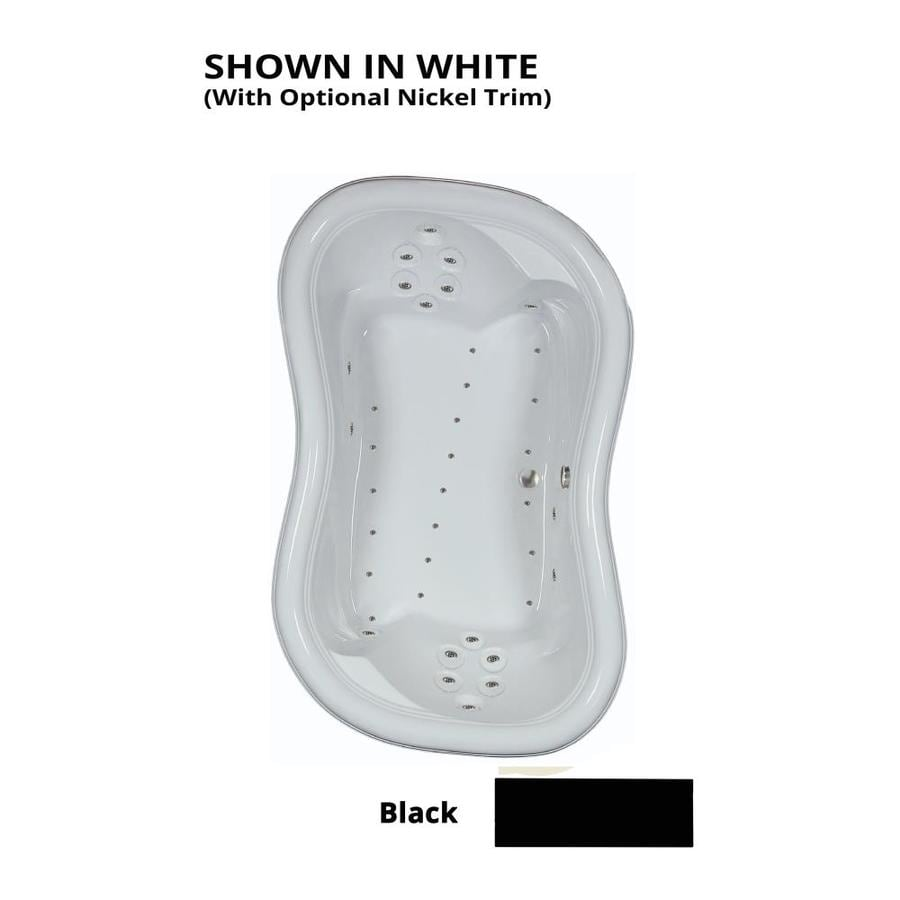 Watertech Whirlpool Baths 78-in Black Acrylic Drop-In Air Bath with Reversible Drain