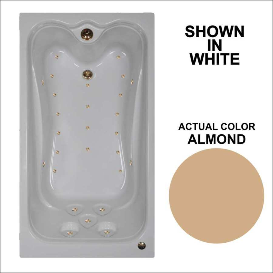 Watertech Whirlpool Baths Elite 59.875-in Almond Acrylic Drop-In Air Bath with Reversible Drain