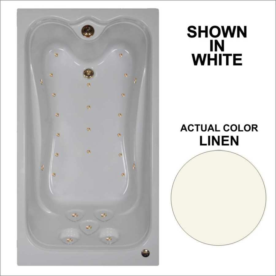Watertech Whirlpool Baths Elite 59.875-in Linen Acrylic Drop-In Air Bath with Reversible Drain