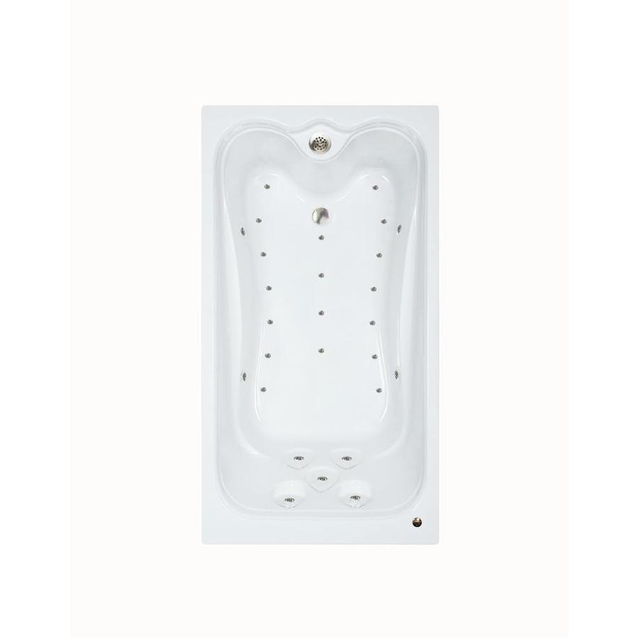 Watertech Whirlpool Baths Elite 59.875-in L x 31.625-in W x 23.75-in H White Acrylic Rectangular Drop-in Air Bath