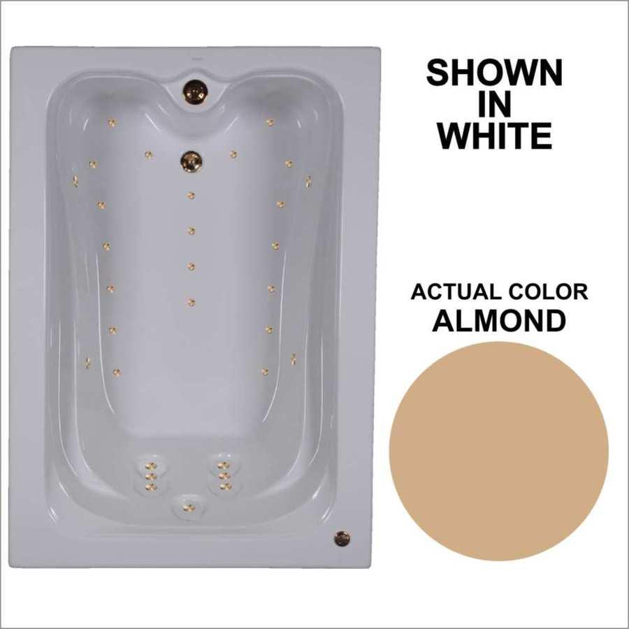 Watertech Whirlpool Baths Elite 59.75-in Almond Acrylic Drop-In Air Bath with Reversible Drain