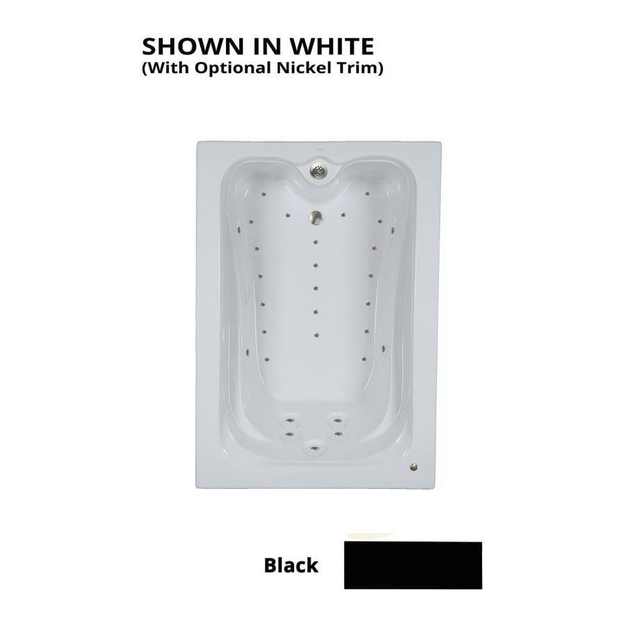 Watertech Whirlpool Baths Elite 59.75-in L x 41.5-in W x 22.875-in H Black Acrylic Rectangular Drop-in Air Bath