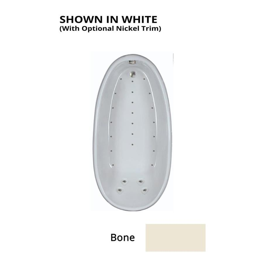 Watertech Whirlpool Baths 72.25-in Bone Acrylic Drop-In Air Bath with Back Center Drain