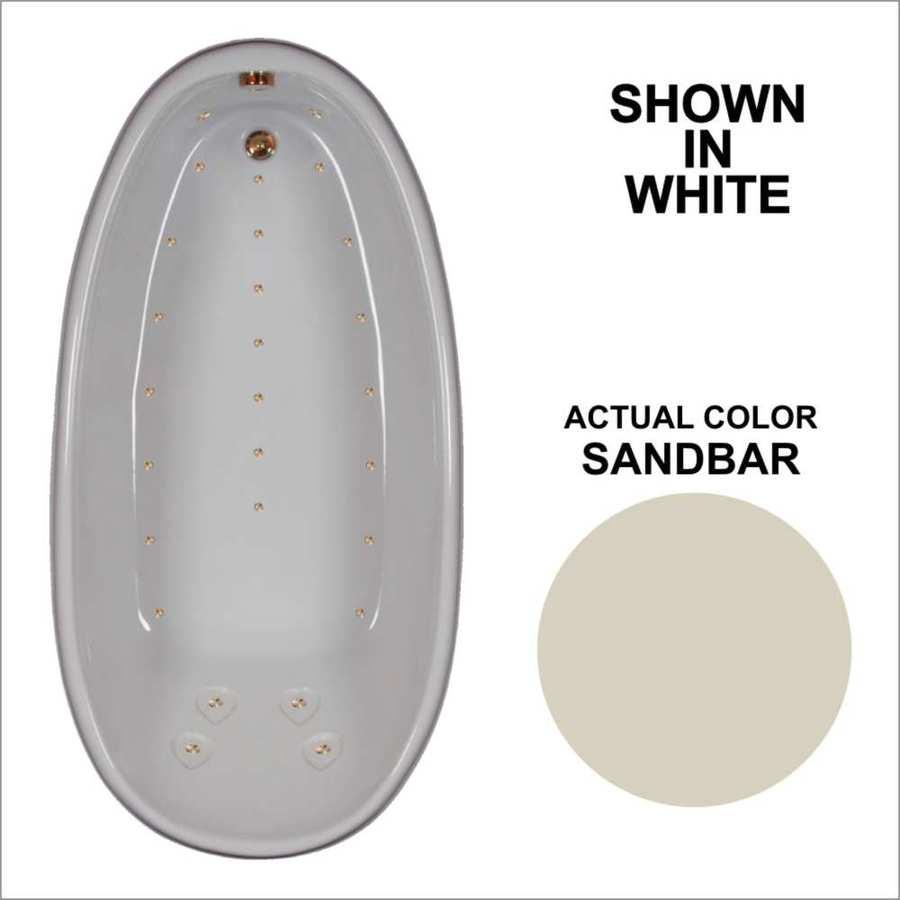 Watertech Whirlpool Baths 72.25-in L x 36-in W x 24-in H Sandbar Acrylic Oval Drop-in Air Bath