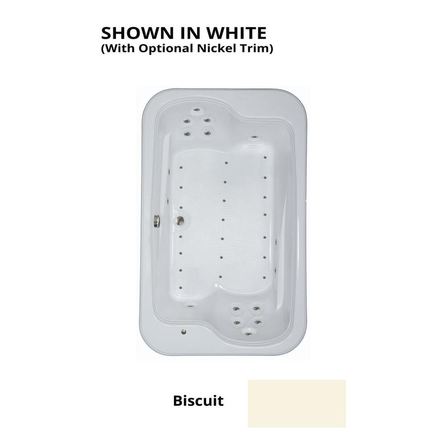 Watertech Whirlpool Baths 71.5-in Biscuit Acrylic Drop-In Air Bath with Reversible Drain