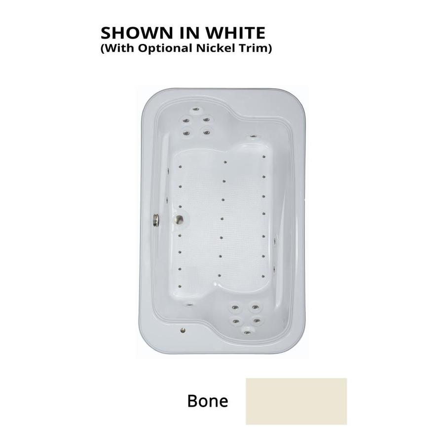 Watertech Whirlpool Baths 71.5-in Bone Acrylic Drop-In Air Bath with Reversible Drain