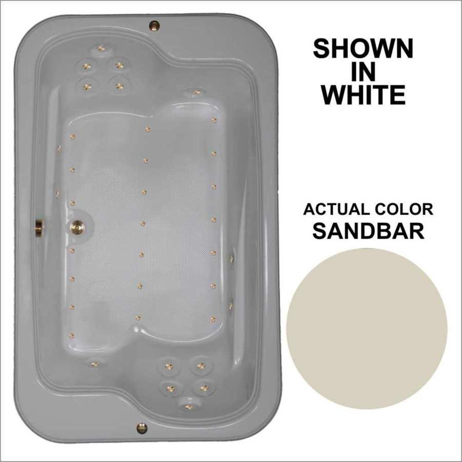 Watertech Whirlpool Baths 71.5-in L x 44.5-in W x 25.375-in H Sandbar Acrylic 2-Person Rectangular Drop-in Air Bath