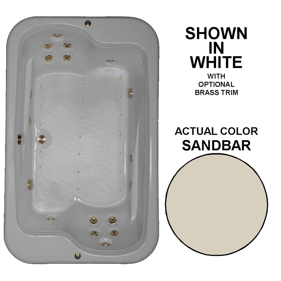 Watertech Whirlpool Baths Designer 72-in L x 45-in W x 25.375-in H 2-Person Sandbar Acrylic Rectangular Drop-in Whirlpool Tub and Air Bath