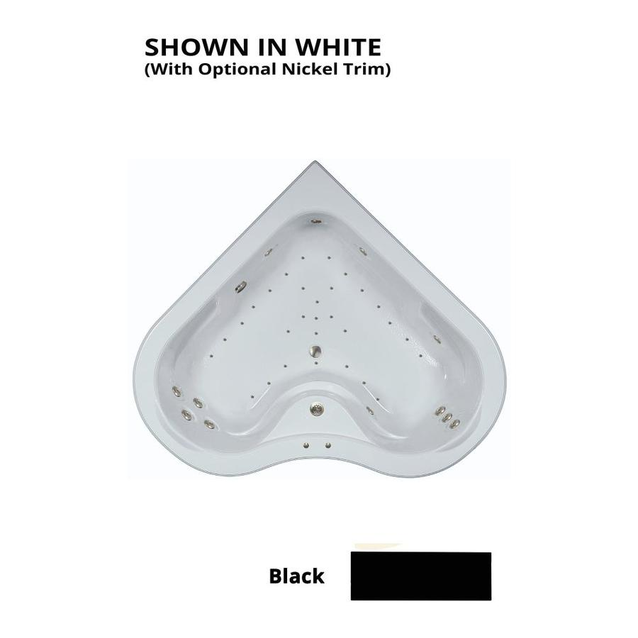 Watertech Whirlpool Baths Elite 64-in L x 64-in W x 21.5-in H 2-Person Black Acrylic Corner Drop-in Whirlpool Tub and Air Bath