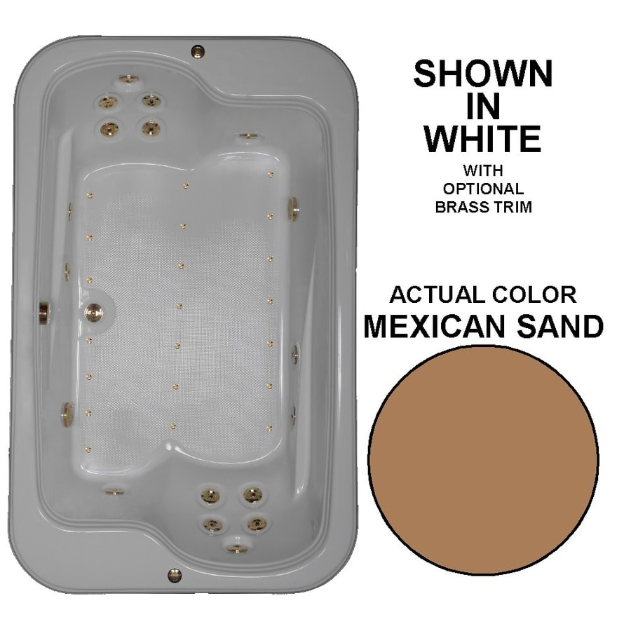 Watertech Whirlpool Baths Designer 72-in L x 45-in W x 25.375-in H 2-Person Mexican Sand Acrylic Rectangular Drop-in Whirlpool Tub and Air Bath