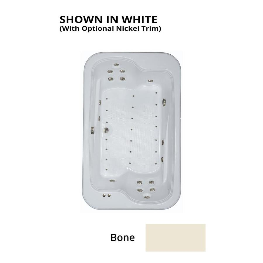 Watertech Whirlpool Baths Designer 72-in L x 45-in W x 25.375-in H 2-Person Bone Acrylic Rectangular Drop-in Whirlpool Tub and Air Bath