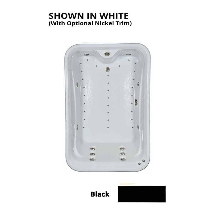 Watertech Whirlpool Baths Elite 72-in Black Acrylic Drop-In Whirlpool Tub And Air Bath with Reversible Drain