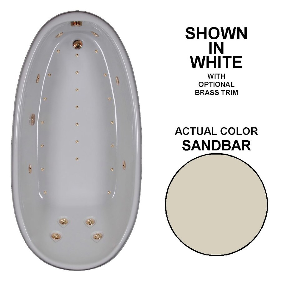 Watertech Whirlpool Baths Designer 72-in Sandbar Acrylic Drop-In Whirlpool Tub and Air Bath with Reversible Drain
