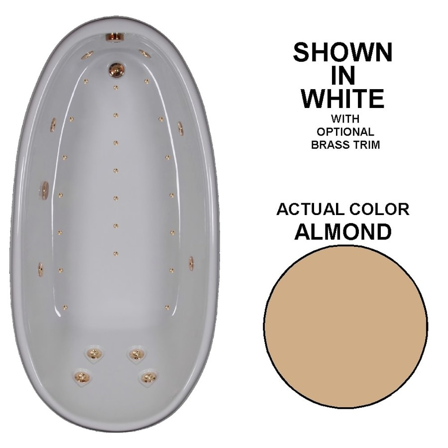 Watertech Whirlpool Baths Designer 72-in L x 36-in W x 24-in H Almond Acrylic Oval Drop-in Whirlpool Tub and Air Bath