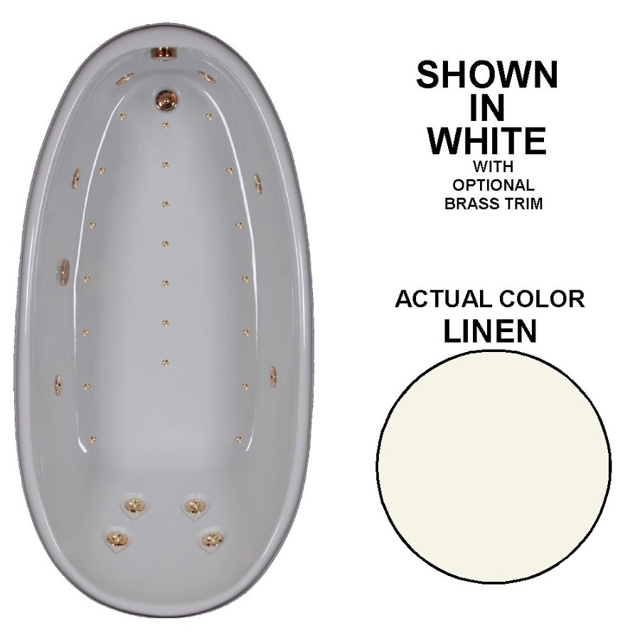 Watertech Whirlpool Baths Designer 72-in L x 36-in W x 24-in H Linen Acrylic Oval Drop-in Whirlpool Tub and Air Bath