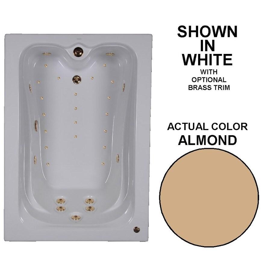 Watertech Whirlpool Baths Elite 60-in L x 42-in W x 22.75-in H Almond Acrylic Rectangular Drop-in Whirlpool Tub and Air Bath