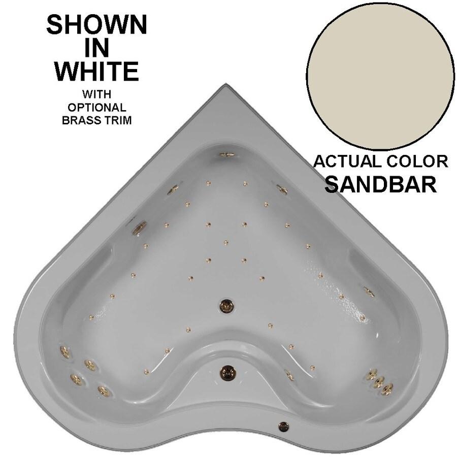 Watertech Whirlpool Baths Elite 64-in L x 64-in W x 21.5-in H 2-Person Sandbar Acrylic Corner Drop-in Whirlpool Tub and Air Bath