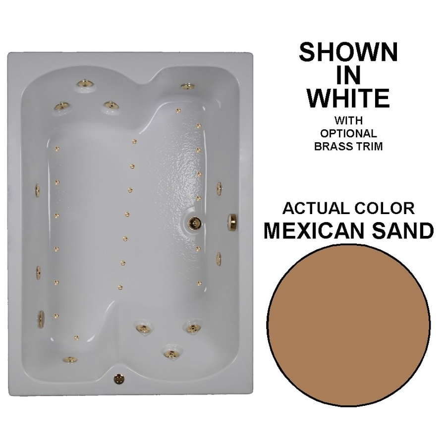 Watertech Whirlpool Baths Designer 60-in L x 43-in W x 23.25-in H Mexican Sand Acrylic Rectangular Drop-in Whirlpool Tub and Air Bath