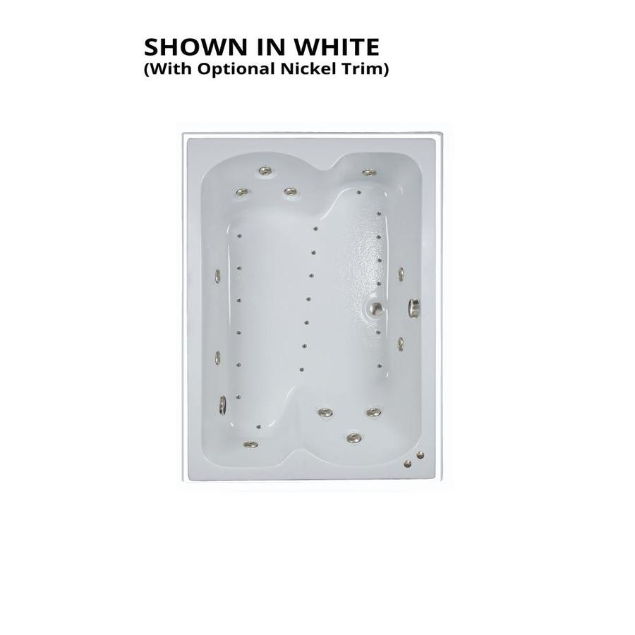 Watertech Whirlpool Baths Designer 60-in L x 43-in W x 23.25-in H White Acrylic Rectangular Drop-in Whirlpool Tub and Air Bath