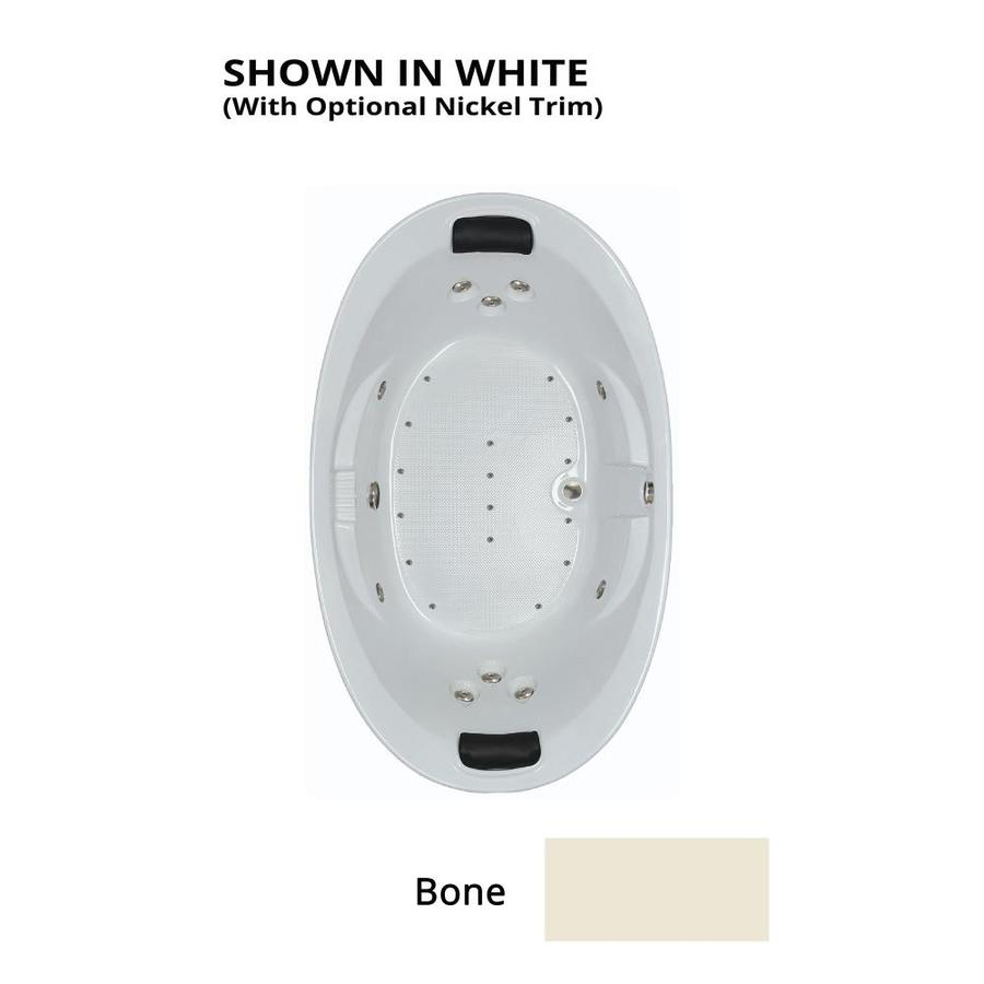 Watertech Whirlpool Baths Designer 73-in Bone Acrylic Drop-In Whirlpool Tub And Air Bath with Reversible Drain