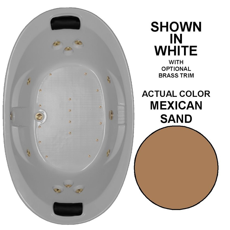 Watertech Whirlpool Baths Designer 73-in L x 44-in W x 23-in H 2-Person Mexican Sand Acrylic Oval Drop-in Whirlpool Tub and Air Bath