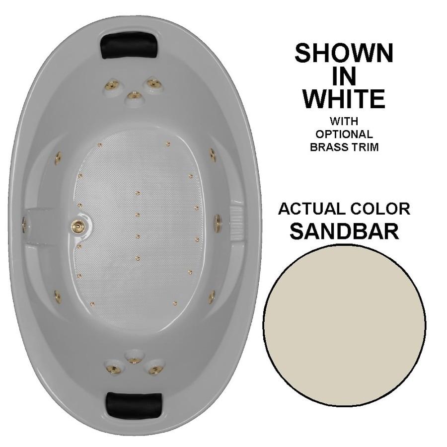 Watertech Whirlpool Baths Designer 73-in L x 44-in W x 23-in H 2-Person Sandbar Acrylic Oval Drop-in Whirlpool Tub and Air Bath