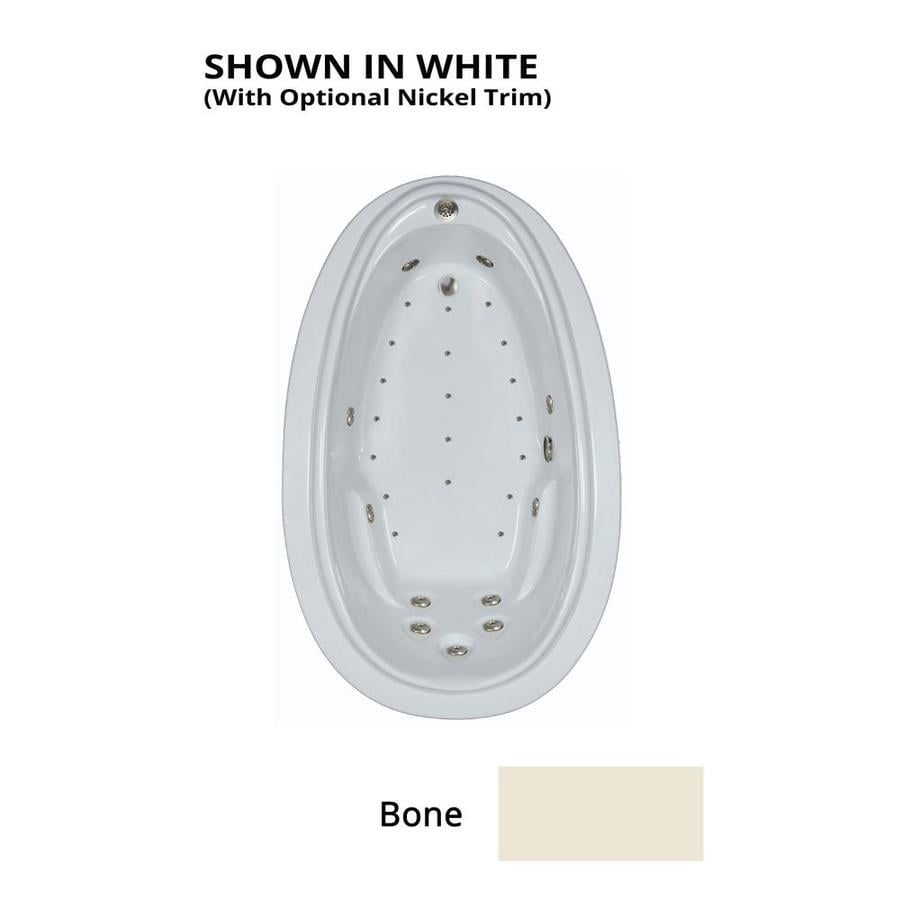 Watertech Whirlpool Baths Elite 72-in L x 44-in W x 22.25-in H Bone Acrylic Oval Drop-in Whirlpool Tub and Air Bath