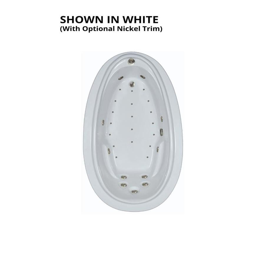 Watertech Whirlpool Baths Elite 72-in L x 44-in W x 22.25-in H White Acrylic Oval Drop-in Whirlpool Tub and Air Bath