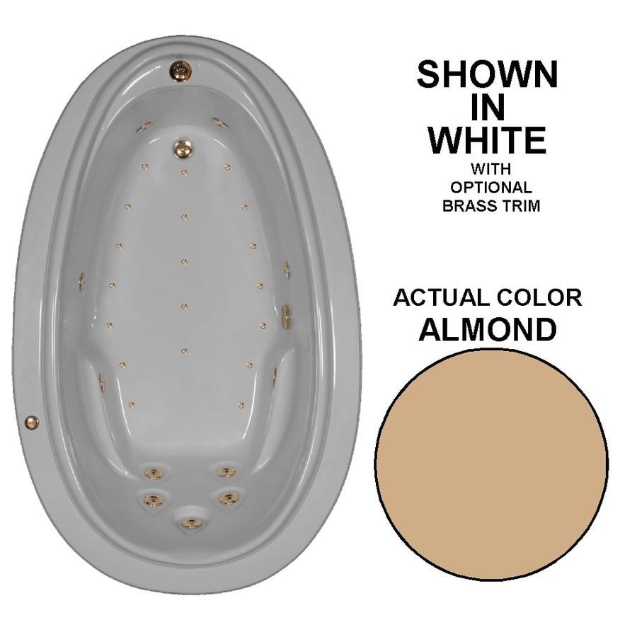 Watertech Whirlpool Baths Elite 72-in L x 44-in W x 22.25-in H Almond Acrylic Oval Drop-in Whirlpool Tub and Air Bath