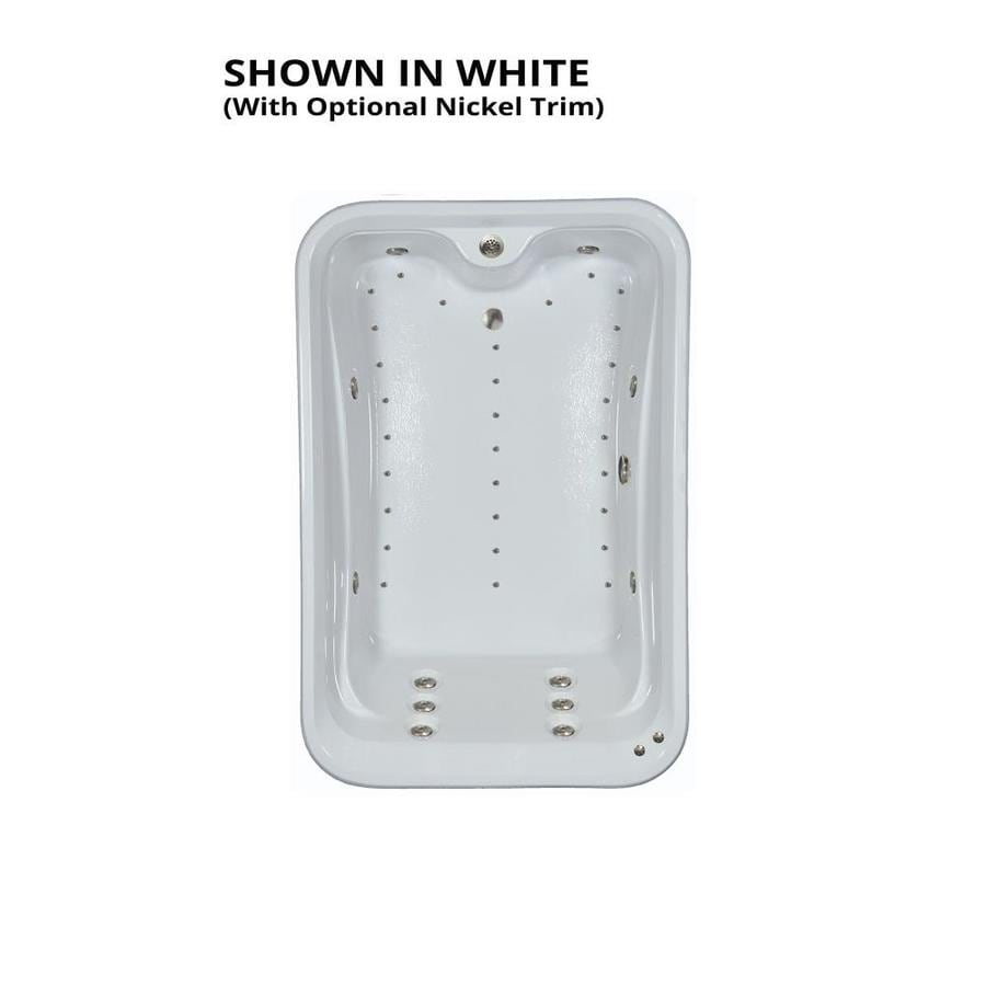 Watertech Whirlpool Baths Elite 72-in L x 48-in W x 22.5-in H 2-Person White Acrylic Rectangular Drop-in Whirlpool Tub and Air Bath
