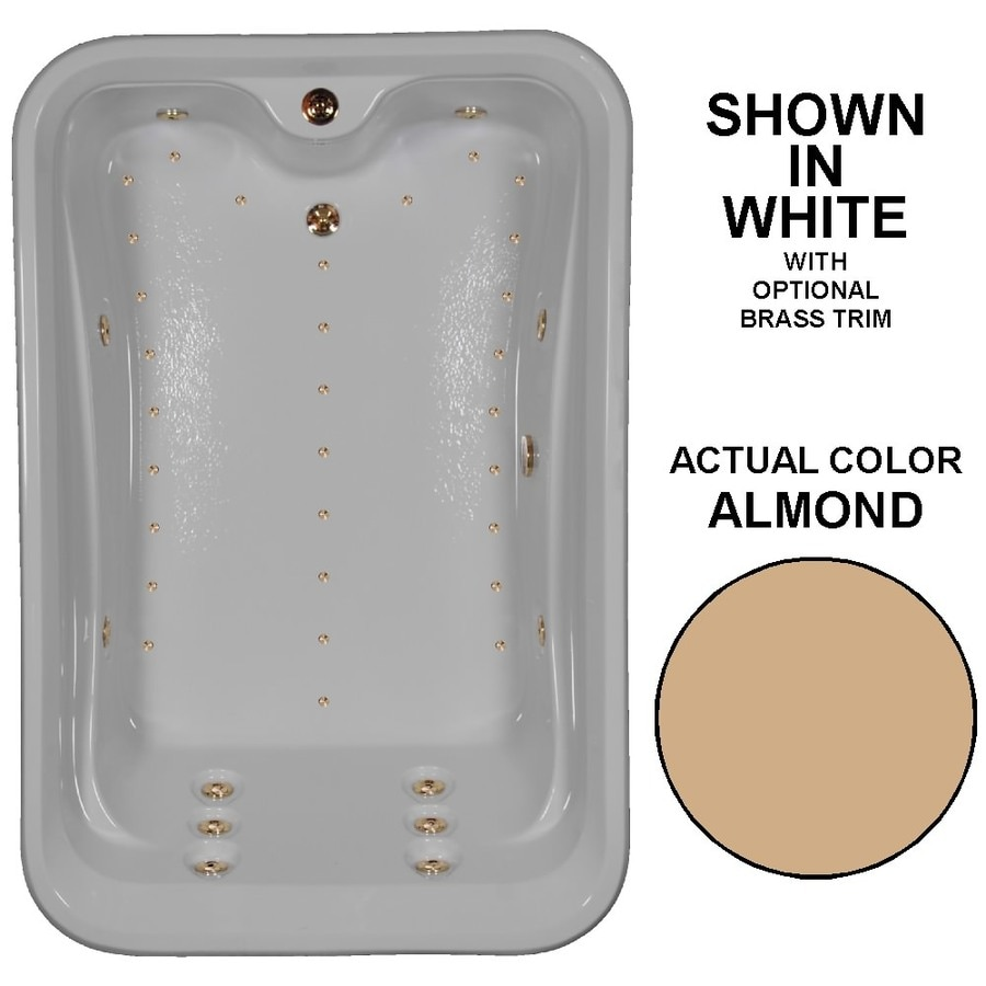 Watertech Whirlpool Baths Elite 72-in Almond Acrylic Drop-In Whirlpool Tub and Air Bath with Reversible Drain