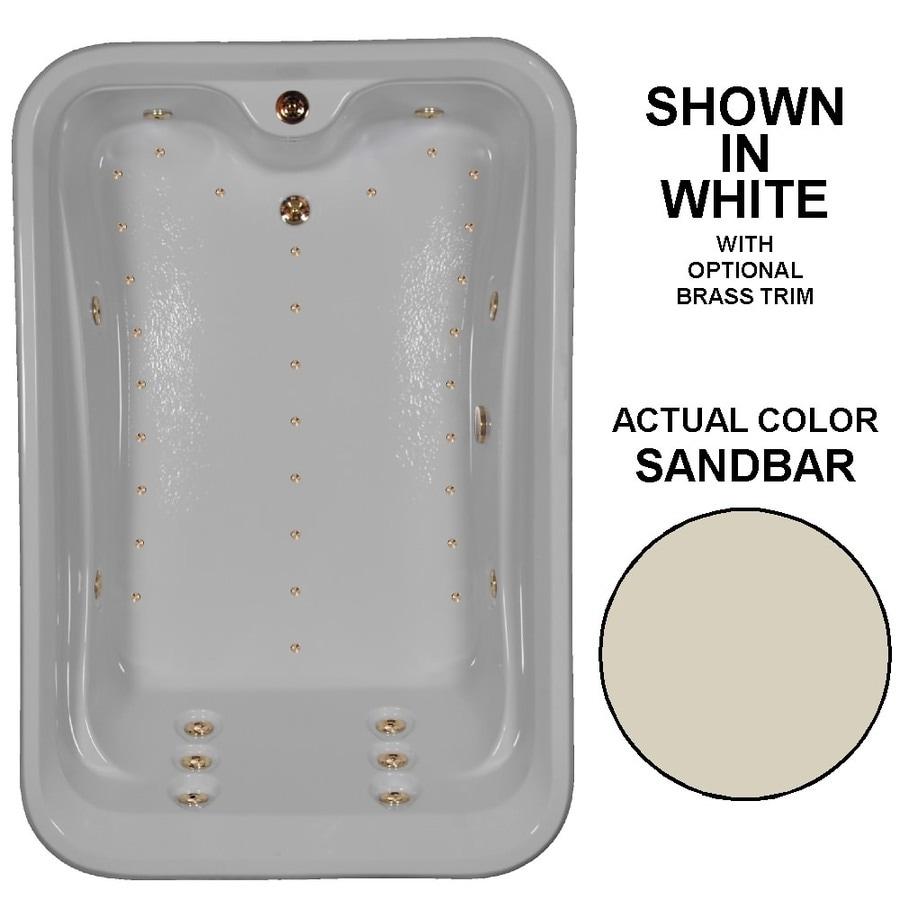 Watertech Whirlpool Baths Elite 72-in L x 48-in W x 22.5-in H 2-Person Sandbar Acrylic Rectangular Drop-in Whirlpool Tub and Air Bath