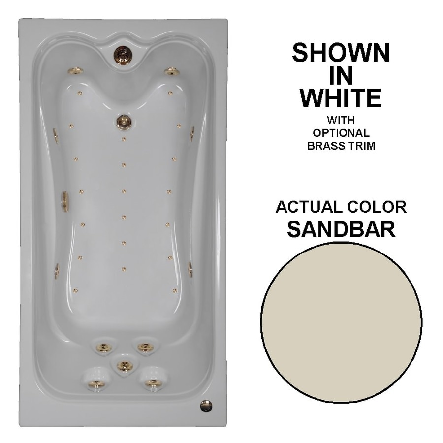 Watertech Whirlpool Baths Elite 72-in Sandbar Acrylic Drop-In Whirlpool Tub And Air Bath with Reversible Drain