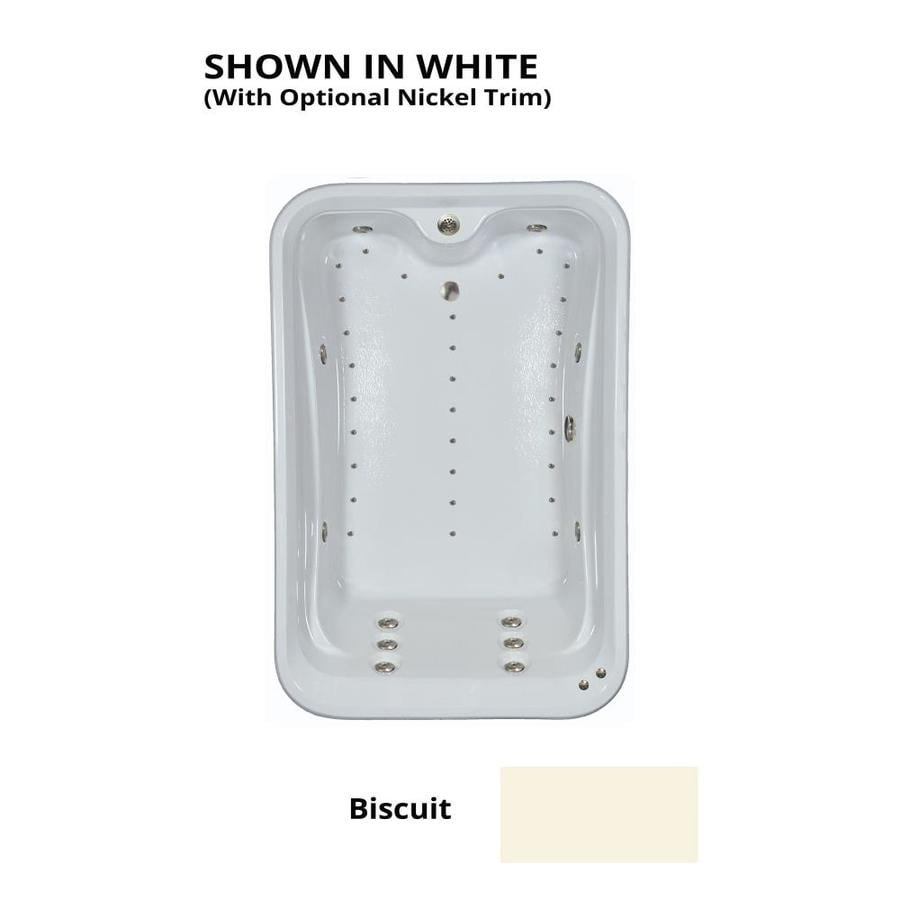 Watertech Whirlpool Baths Elite 72-in L x 48-in W x 22.5-in H 2-Person Biscuit Acrylic Rectangular Drop-in Whirlpool Tub and Air Bath